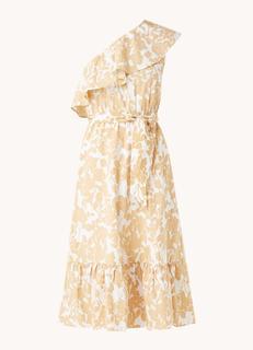 Gloria midi jurk met asymmetrische halslijn en bloemenprint
