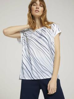 NU 20% KORTING: T-shirt Gemustertes T-Shirt im Materialmix