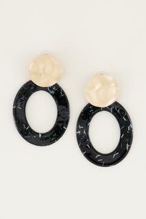 Zwarte oorhangers ovaal met glitters