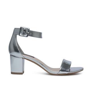 Minimal sandalen met hak metallic zilver