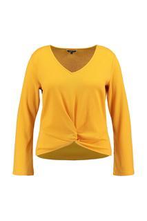 Dames Gebreid shirt met knoop detail Geel