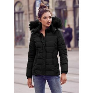 Gewatteerde jas Helsinki chic winterjack met capuchon en zwarte rand van imitatiebont