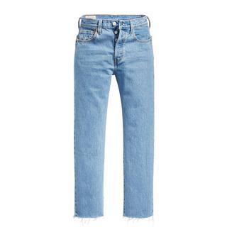 501 cropped high waist mom jeans blauw