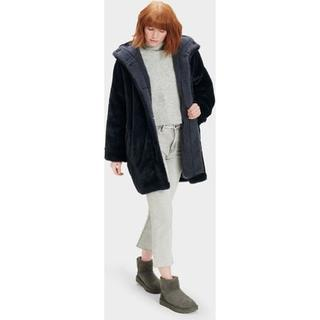 Nori Oversized Faux Fur Jas voor Dames in Smoky Blue, maat XS/S