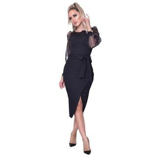 Grace Organza Mesh Sleeves Wrap Dress