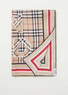 Sjaal van zijde met logoprint 90 x 90 cm