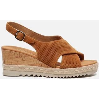 Sandalen met sleehak bruin