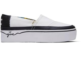 Zwart-Witte Canvas Alpargata Boardwalk Platform Voor Dames Schoenen .5