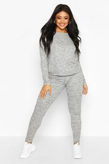 Plus Oversized Geribbelde Top En Joggingbroek Set, Grijs