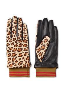 Handschoenen van leer met luipaarddessin