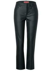Slim fit broek in lederoptiek
