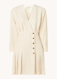 Mini jurk in linnenblend met V-hals en plooidetails