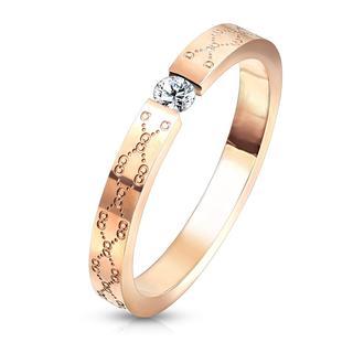 Floral - Roségouden dames ring met patroon en steentje