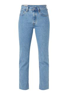 501 High waist regular fit jeans met gerafelde zoom