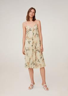 Gebloemde geplooide jurk