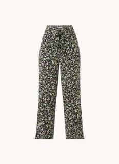 High waist wide fit pantalon met strikceintuur