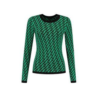 fijngebreide trui Pia met all over print groen/ zwart