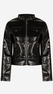 Zwarte croco jasje leatherlook
