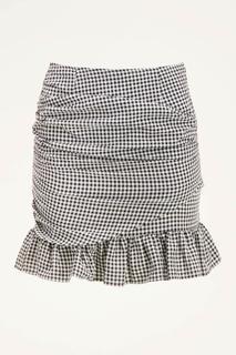Zwart-wit geruite rok met plooien