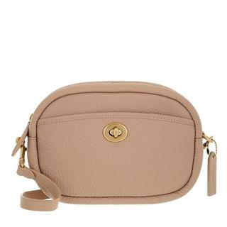 Crossbody bags - Soft Pebble Leather Camera Bag With Leather Strap in taupe voor dames