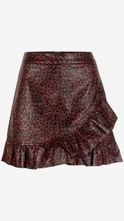 Rood rokje met luipaardprint leather look