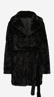 Zwarte faux fur jas met ceintuur
