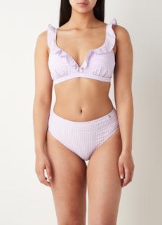 Voorgevormde beugel bikinitop met ruitprint