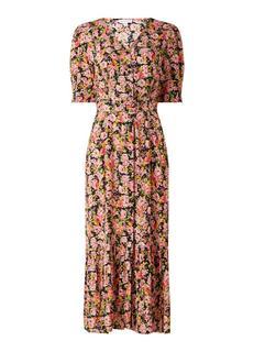 Rose maxi jurk met overslag en bloemenprint