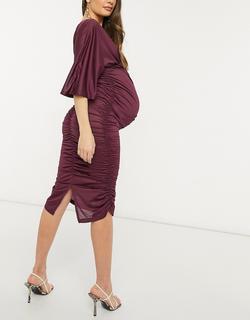 ASOS DESIGN Maternity - Aangerimpelde midi jurk met kimonomouwen in pruim-Paars