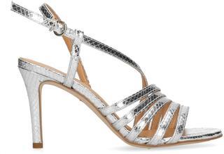 Dames - Zilverkleurige sandalen met hak - Maat 37