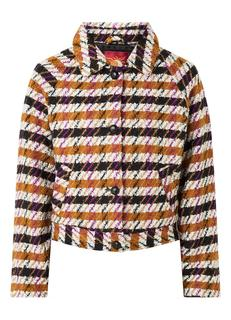 Overshirt in wolblend met steekzakken en print