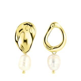 Goudkleurige byoux oorbellen met parel