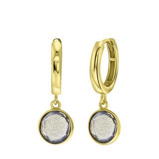 Zilveren oorbellen gold Gemstone labradorite