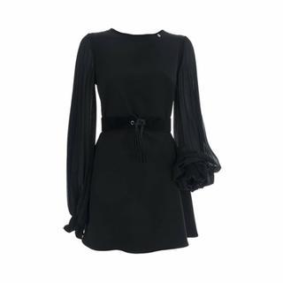 Abito Plixy Zwart kleed lange mouwen met plooien
