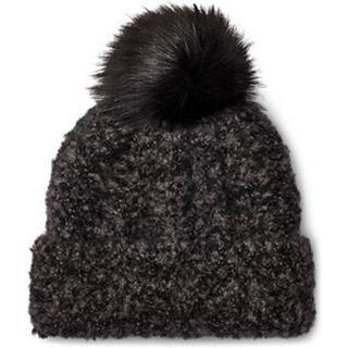 Boucle Knit Cuff Pom Hoed voor Dames in Black