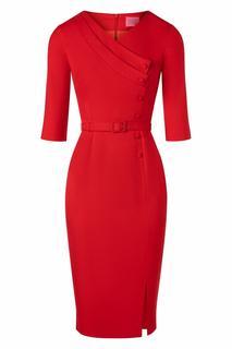 50s Vive Pencil Dress in Lipstick Red