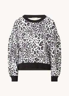 Leopard sweater met pofmouw en panterprint