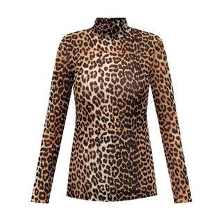 Leopard print turtleneck top
