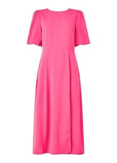 Midi jurk met split en pofmouwen