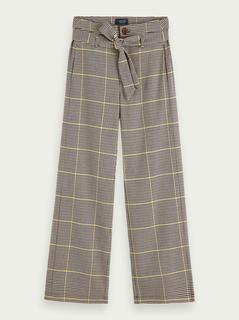 High-rise geruite broek met wijde pijpen