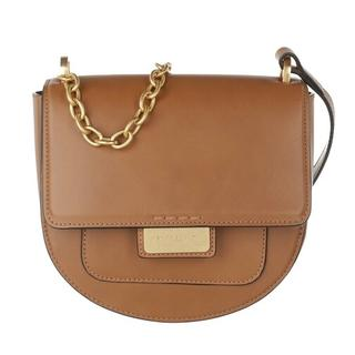 Crossbody bags - Small Chained Strap Flap Crossbody Bag Leather in brown voor dames