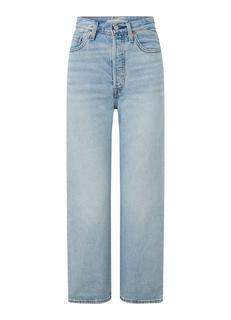 Ribcage high waist straight fit cropped jeans met lichte wassing