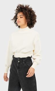 Fleece sweatshirt met detail op de taille , Vanille elastaan,polyester,katoen,