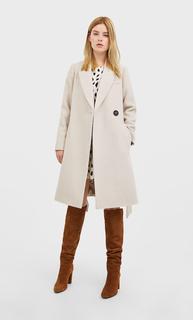 Wollen jas met ceintuur , Vanille polyester,wol,polyamide,acryl,katoen,viscose,
