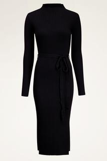Zwarte jurk met split en ribstof