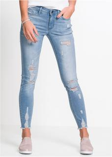 Dames super skinny jeans destroyed in blauw